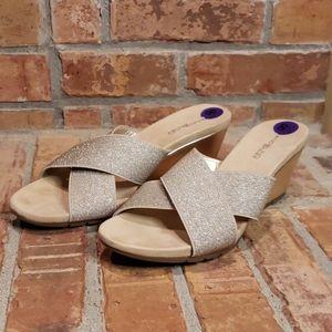 Bandolino Gold Sparkle Wedge Sandals